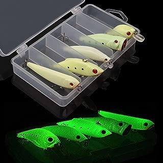 Night Glow Fishing Lure Bait Kit - 5pcs Luminous VIB Popper Crank Minnow Pencil Hard Bait Artificial Lures with Tackle Box