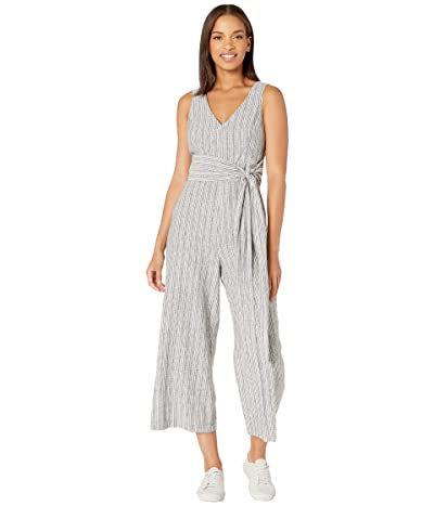 1.STATE Sleeveless V-Neck Carousel Stripe Jumpsuit (Rich Black) Women