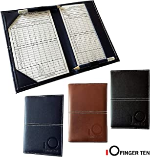 FINGER TEN Golf Scorecard Holder Yardage Cover with 2 Free Golf Pencil 2 Score Card Sheet, Deluxe Color Black Blue Brown Gift Pack