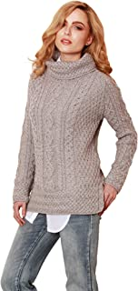 Carraig Donn - Ladies - 100% Soft Merino Wool - Cable Knit Sweeter Vented Roll Neck Irish Jumper