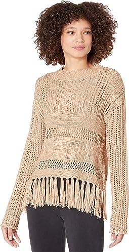 Long Sleeve Knit Sweater with Fringe Hem 46-8393