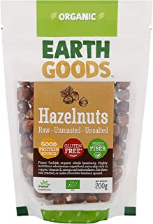 Earth Goods - Organic Hazelnuts Super Food Raw Unroasted Unsalted Daily Intake , High Fiber Copper Protein Vitamin E and G...