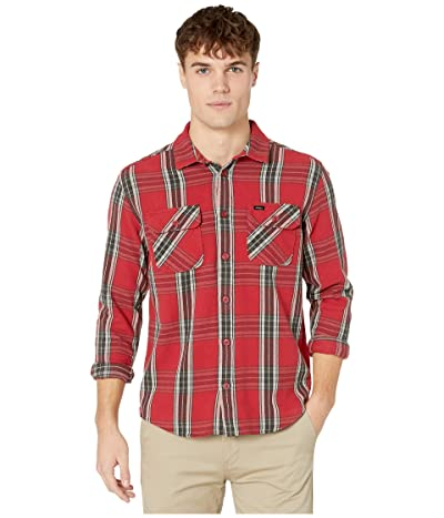RVCA Reverberation Flannel Long Sleeve Button Up Shirt (Brick Red) Men