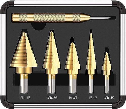 popular 5PCS Titanium Step Drill Bit Set & Automatic Center Punch, discount 50 Sizes(1/8''-1 3/8'') in High Speed Steel Drill Bit Set, Double Cutting Blades Design, Aluminum popular Case-PDH06A online sale
