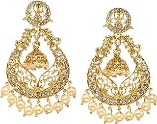 Bindhani Traditional Wedding Indian Jewellery Fashion Ethnic Bride Bridesmaid Bollywood Bridal Gold Plated Jewelry Chandbali Kundan Stone Faux Pearl Drop Dangle Jhumka Jhumki Earrings For Women