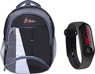 blubags Super 36 Liters Casual Backpack with raincover for Unisex Black and led Watch