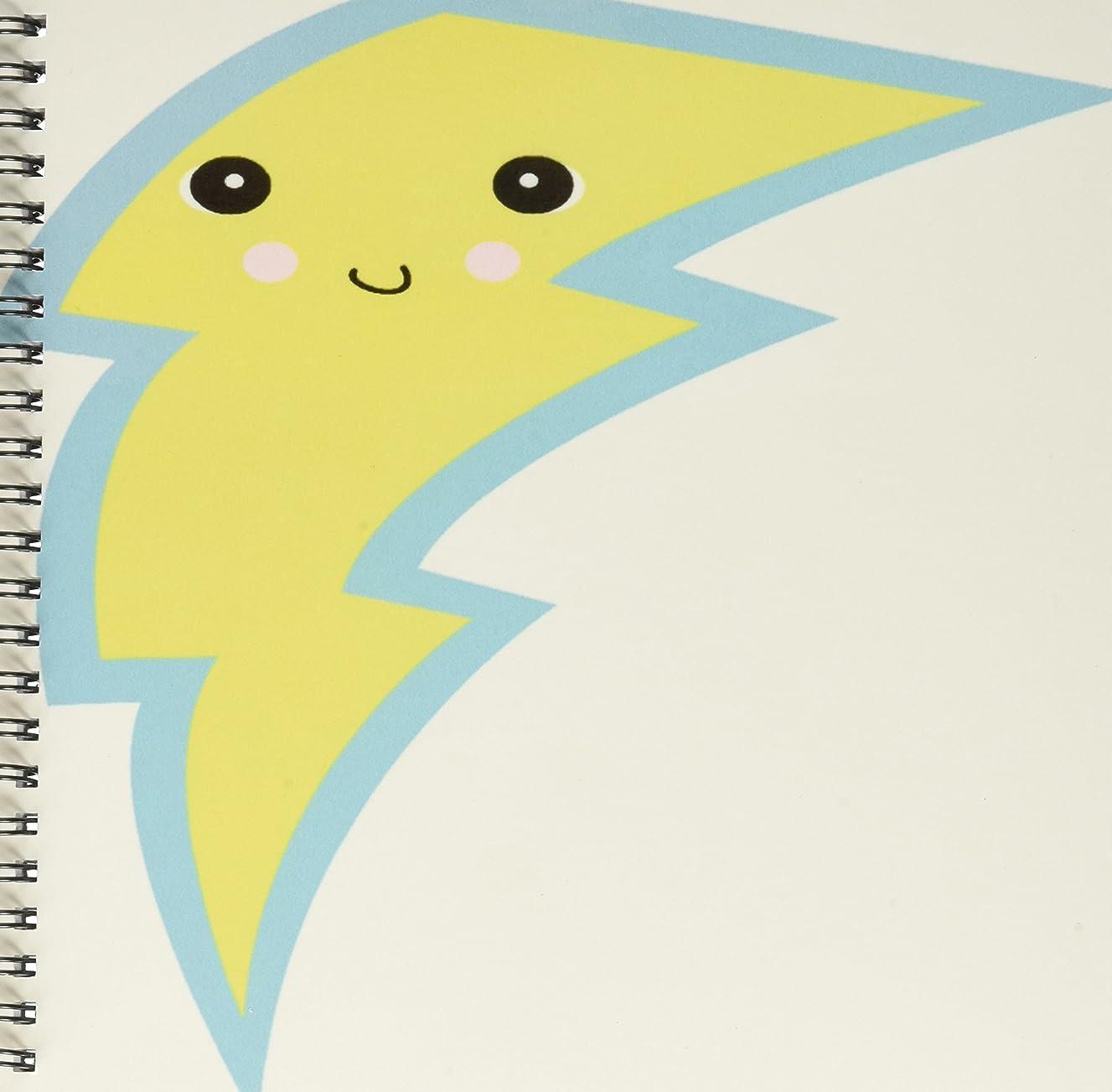 3dRose db_102694_1 Cute Kawaii Comic Lightening Bolt-Drawing Book, 8 by 8-Inch