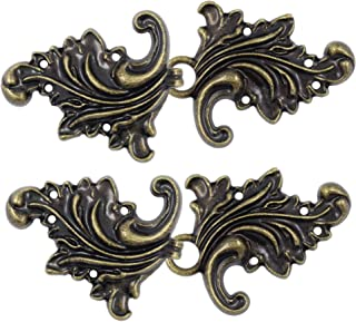 Bezelry 4 Pairs Asymmetric Acanthus Leaf Cape or Cloak Clasp Fasteners. 66mm x 28mm Fastened. Sew On Hooks and Eyes Cardigan Clip (Antique Brass)