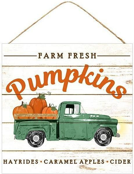 Craig Bachman 10 Wooden Sign Farm Fresh Pumpkins Blue Green Fall Autumn Farm Vintage Truck Wood Sign
