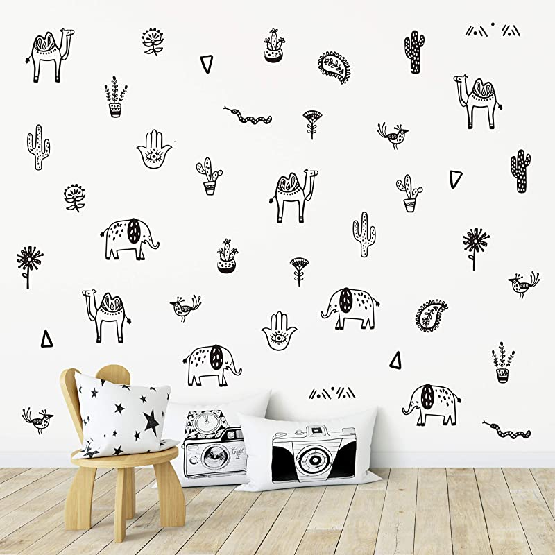 Wall Vinyl Oriental Animal Decal 40 Pcs Nursery Decor Original Artist Design Adhesive Animals Sticker For Kids Baby Camel Elephant Bird Cactus Planter Snake Hand Bedroom Decoration Black
