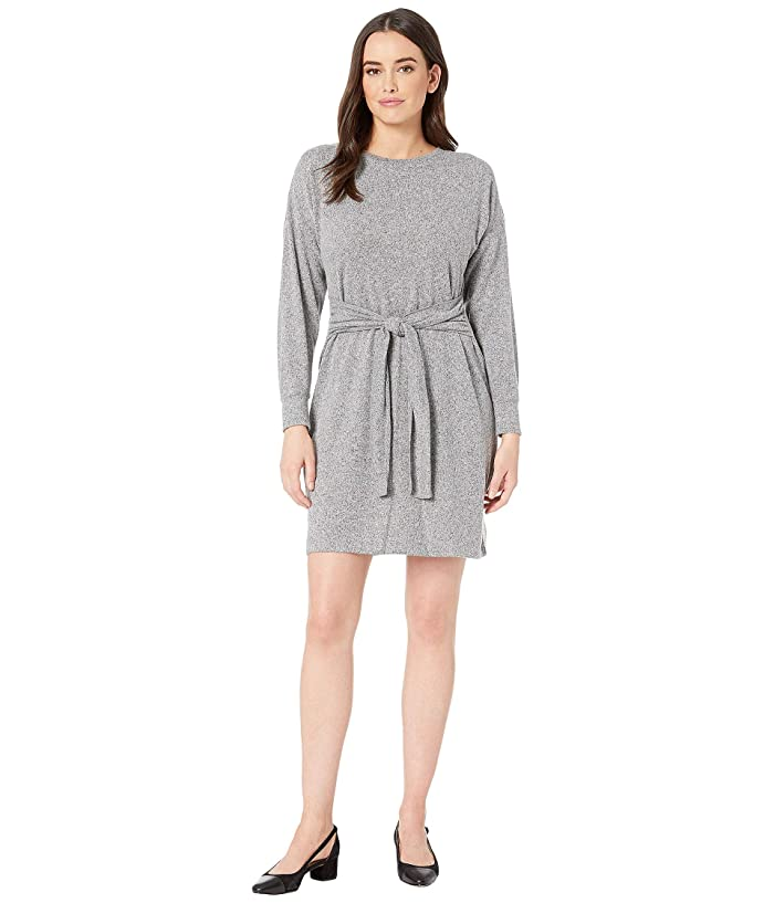 American Rose Opal Sweater Knit Dress with Front Tie (Gray) Women