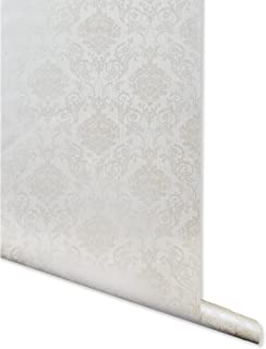 Metallic Imprint, Off White Damask Wallpaper for Walls - Double Roll - by Romosa Wallcoverings BB7302
