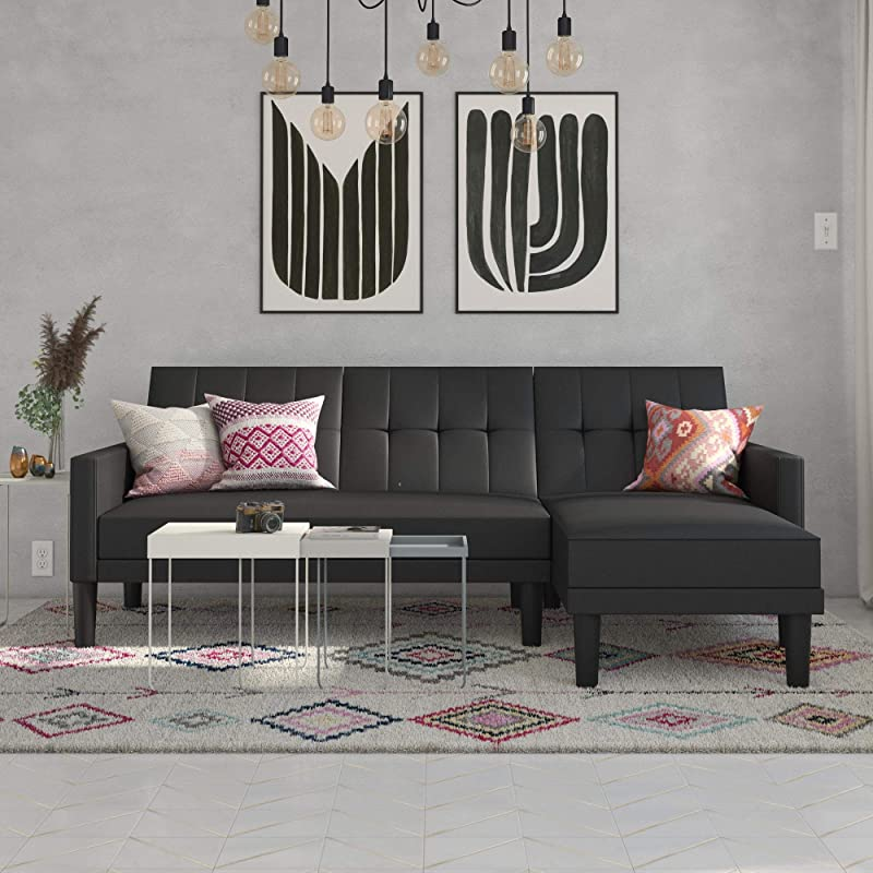 DHP Haven Small Space Sectional Futon Sofa Black Faux Leather