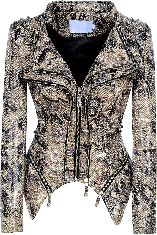 chouyatou Women's Fashion Snake Pattern Print Studded Perfect Fit Moto Pu Leather Biker Jacket