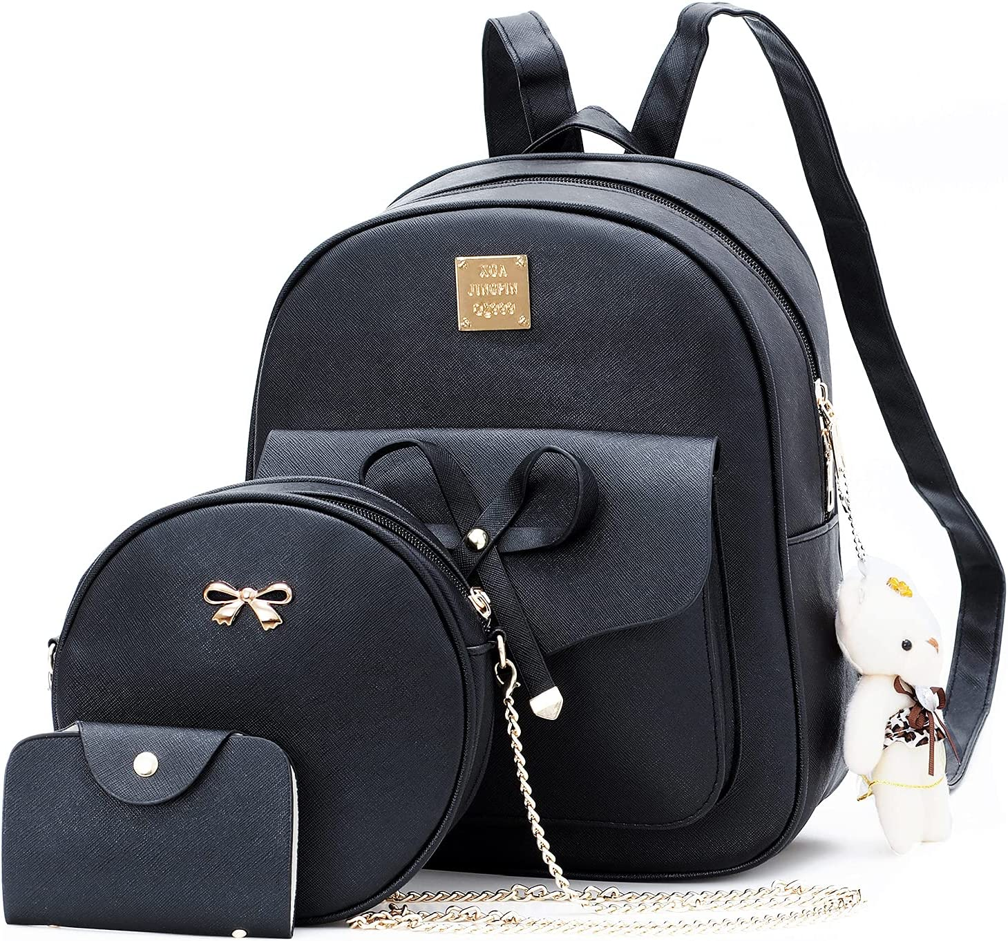 chzk Fashion Mini Leather Backpack 3-Pieces Cute Bowknot Small Backpack Purse Travel Backpack Handbags Multifunctional Crossbody Purse Shoulder Bag with Wallet for Girls Women Black