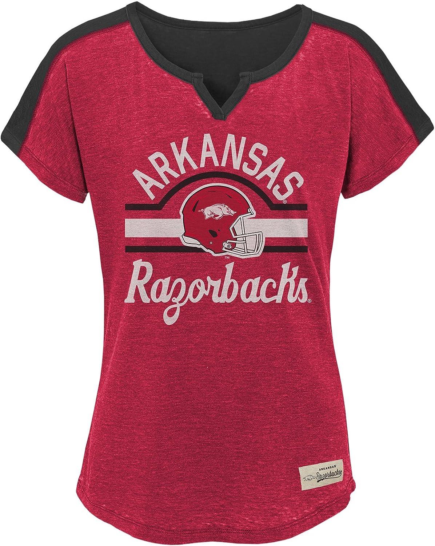 NCAA Arkansas Razorbacks Youth Girls Tribute Football Tee, Medium(1012), Victory Red