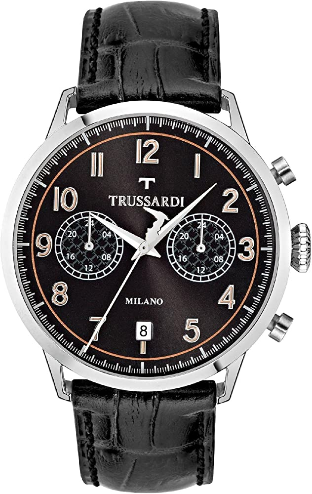 Trussardi, orologio cronografo per uomo, con cinturino in pelle e cassa in acciaio inossidabile R2451123003