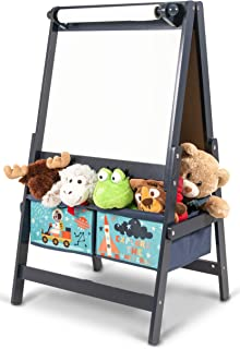 Little Explorer Kids' Standing Wooden Art Easel Double-sided with Blackboard, Two Storage Boxes and Paper Roll - Blue