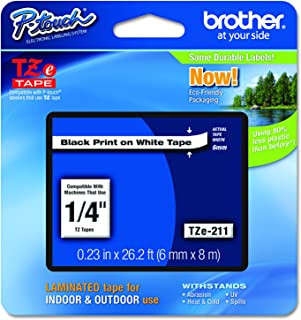 Brother Genuine P-touch TZE-211 Label Tape 1, 1/4