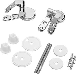 Yizhet 1 Par Bisagras Asientos de Inodoro Acabado Cromo Conexiones Incorporadas,Juego de fijación para WC-asiento Kit de reparación bricolaje
