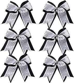 Cheerleader Bows 8 Inch 3 Layers 6 Pcs Ponytail Holder Jumbo Cheerleading Bows Hair Elastic Hair Tie for High School College (Black/White/Silver)