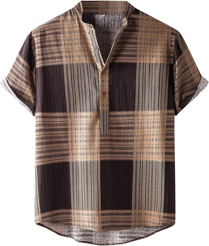 FUNEY Men's Casual Button-Down Shirts Vertical Striped Floral Hawaiian Shirts Short Sleeve Beach Summer Tshirt Tops