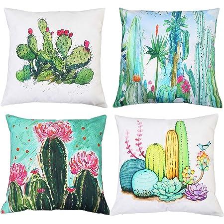 Amazon Com Meritchoice Succulent Pillow Cactus Pillow Cactus Throw Pillow Cactus Pillow Cover Print Double Sided Decorative Pillow Covers Set Of 4 Cotton Linen 18 X 18 Inch Home Kitchen