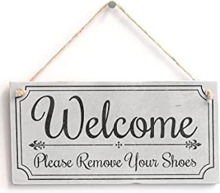 Meijiafei 'Welcome Please Remove Your Shoes' - Cute Welcome Sign - Vintage PVC Door Sign Plaque 10