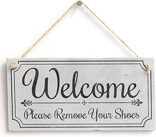 Meijiafei Welcome Please Remove Your Shoes Cute Welcome Sign Vintage PVC Door Sign Plaque 10 X5