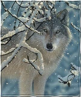 "Dawhud Direct Broken Silence Wolf Super Soft Full/Queen Size Plush Fleece Blanket, 75"" x 90"""