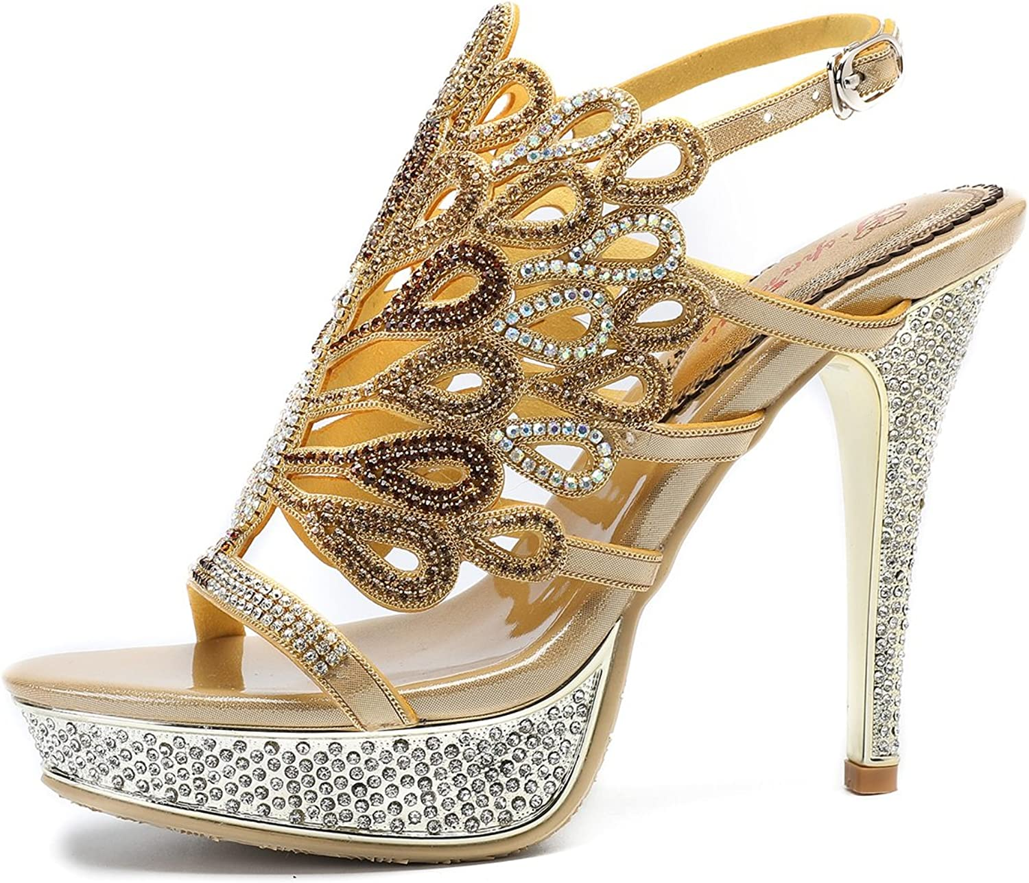 Women's shoes Sparkling Glitter Leather Summer Fall Comfort Sandals Stiletto Heel Peep Toe for Wedding Party & Evening gold