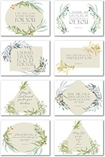 48 Pack Thank You Inspirational Bible Verse Note Cards - 8 Unique Scripture Card Designs - Single Sided with Envelopes
