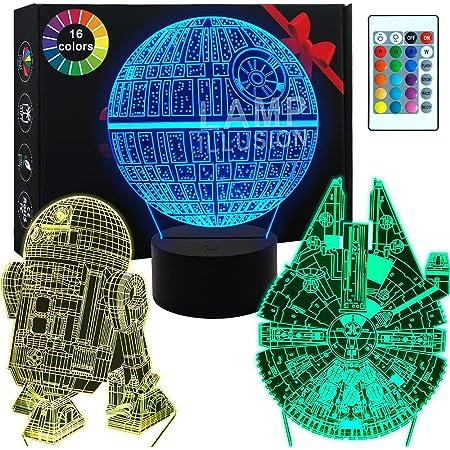 Lampe 3D Star Wars -Illusion Veilleuse de Cadeaux Star War - 3 motifs, 1 base et 1 télécommande - Star Wars R2-D2 / Etoile de la mort/Faucon Millennium - Star Wars Light
