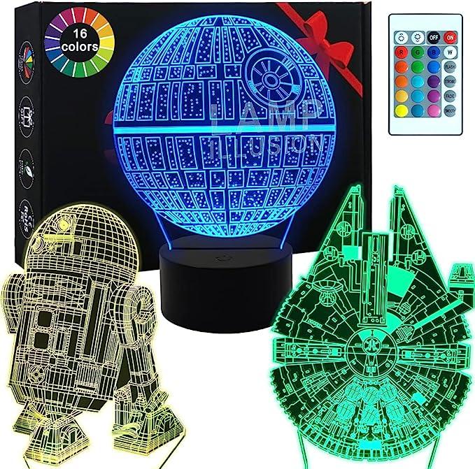 3D Star Wars Lampe - Star Wars Geschenke - 3 Muster & 1 Sockel & 1 Fernbedienung - Star Wars R2-D2 / Todesstern/Millennium Falke - Star Wars Licht - Star Wars Licht mit Fernbedienung…