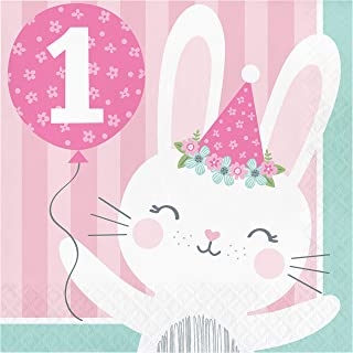 "Creative Converting Bunny Party Napkins, 6.5"", Pink"