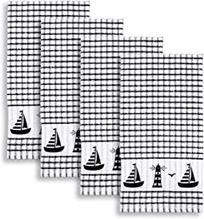 Cackleberry Home Sailboat & Lighthouse Windowpane Check Cotton Terrycloth Kitchen Towels, Set of 4 (Black)