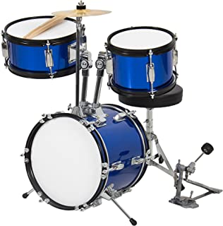 Best Choice Products 3-Piece Kids Beginner Drum Set with Cushioned Stool, Drum Pedal, Blue