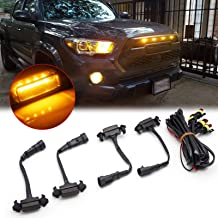 Xotic Tech 4pcs Smoked Lens Amber LED Front Grille Lighting Assemblies Kit for Toyota Tacoma 2016 2017 2018 2019 w/TRD Pro...
