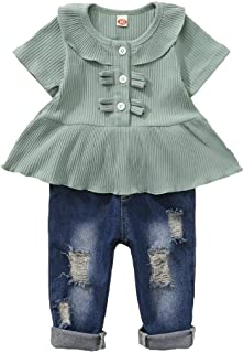 Toddler Baby Girl Clothes Infant Little Girl Outfit Ruffle Shirt Ripped Denim Jeans Pants Set Summer Clothes for Girls