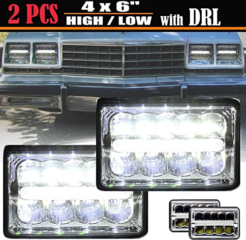 high quality 45W 4X6 Inch online LED Sealed Beam Headlights High Low Beam DRL Replacement H4651 H4652 H4656 online sale H4666 H6545 Light 6000K White Plug and Play, Pack of 2 online