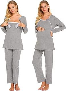 Nursing PJ Nightgown Hospital Delivery/Labor/Maternity/Pregnancy Long Sleeve Soft Breastfeeding Pajamas Sleepwear Set