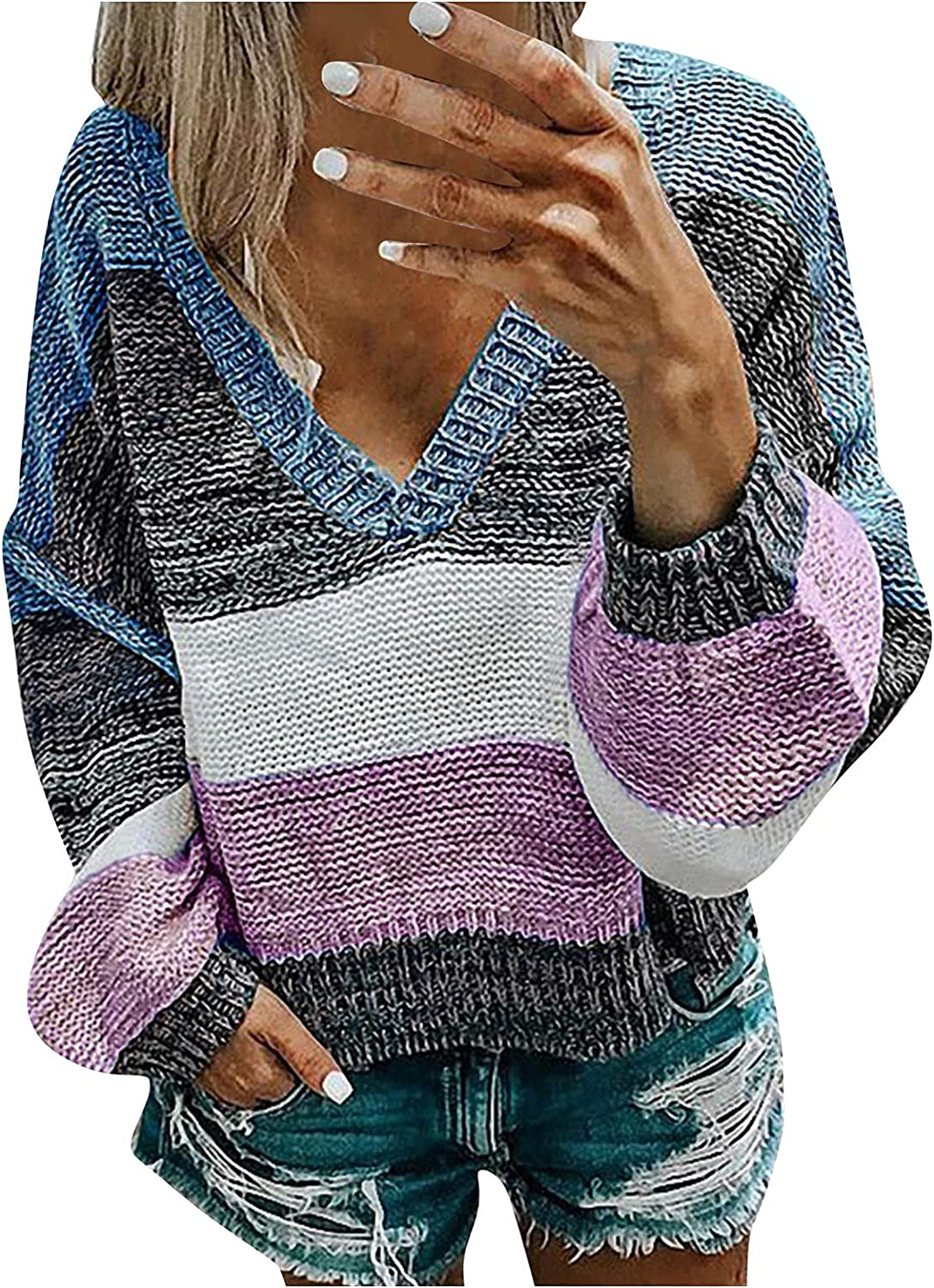 Womens Flared Sleeves Sweater Stripe Knit Long Sleeve Blouse Crew Neck Loose Sweater Tops