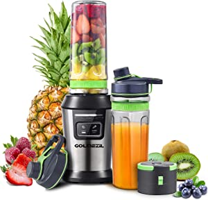 Automatic Personal Blender for Shakes and Smoothies: Smart Small Blender for Fruits and Vegetables with 2 Tritan BPA-Free 20Oz Travel Bottles & 1 Sport Vacum Lids