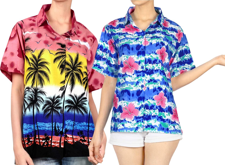 LA LEELA Women's 5% OFF Casual NEW before selling Button Down Sleeve Short Hawaiian S Swim
