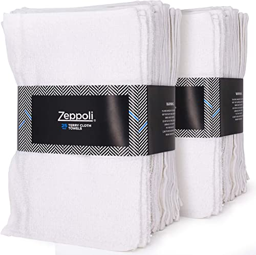 new arrival Zeppoli Auto Shop & Car Wash Towels - 50 Pack - 100% Pure White Cotton - 14 x 17 Inches discount Commercial Grade and Absorbent - Can be Used for Drying, Home outlet online sale Cleaning, or Bathroom Wash Cloths sale