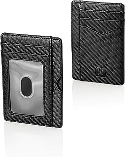 محفظة بطاقات مصنع وسيم - منظم بسيط وعصري للأموال، فواتير، ترخيص مع نافذة لبطاقة الهوية، حاجب RFID - حامل بطاقات نحيف وشديد...