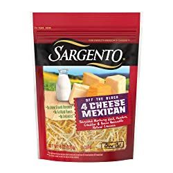 Sargento Shredded 4 Cheese Mexican - Fine Cut, perfect for Nachos, Tacos and other Mexican Dishes.
