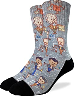 Men's Famous Scientist Crew Socks - Grey, Adult Shoe Size 8-13