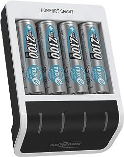 ANSMANN Batteriladdare inkl. 4 x AA-batterier 2100 mAh – automatisk batteriladdare med Perfect-7 laddningsteknik och repar...