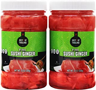 Pickled Sushi Ginger - 2 Jars of 12-oz - Japanese Pink Pickled Gari Sushi Ginger Kosher, Fat Free, Sugar Free, No MSG - By Best of Thailand.